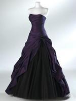 siyah mor gothic elbiseler toptan satış-Mor Ve Siyah Balo Gotik Gelinlik Gelinler için Straplez Gri Kat Uzunluk Gerçek Resim Gelin Törenlerinde Vestidos de Novia