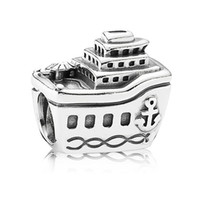 Wholesale Cruise Ships - 925 sterling Silver charms Cruise Ship Crystal beads for women Bracelets necklaces silver jewelry Making