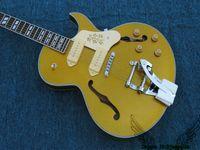 Wholesale 137 Guitar - Goldtop Classic 137 Hollow Jazz Guitar with Tremolo Wholesale Guitars OEM Cheap