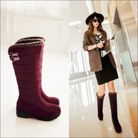 Wholesale Korean Knee High Boots - 2016 winter Snow boots round toes Knee boot Wedge Korean Stretch Faux Suede ladies boots