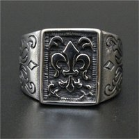 Wholesale stainless ring fleur lis - 1pc Fast Free Shipping New Arrival Fleur De Lis Ring 316L Stainless Steel Popular Fashion Jewelry Men Flower Ring