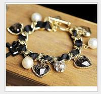 Wholesale Pearl Ball Pendant Bracelet - 2017 new multi ball pendant diamond leopard peach bow and Pearl Bracelet