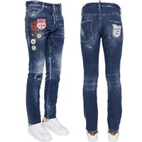 Wholesale Wash Design Denim Pant - Skinny Jeans Men Luxury Design Cool Guy Patchwork Ripped Bleach Wash Painted Effect Cowboy Trousers Denim Pants