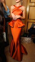Wholesale Evening Dresses Haifa - Hot ! New 2015 Arabia Gold Satin Myriam Haifa Celebrity Dresses Backless Mermaid Long Evening Dresses With Peplum Celebrity Gowns