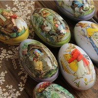 Wholesale Egg Easter Box - Easter eggs with rabbit and chicken pattern egg box for candy and chocolate 6pcs lot