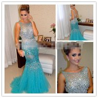 Wholesale Turquoise Crystal Long Dress - Amazing Turquoise Evening Dresses Long 2015 New Sheer Scoop Neck Bling Crystals Sequins Backless Sweep Train Celebrity Runway Formal Dress