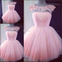 Wholesale Homecoming Puffy Dress - Cute Short Pink Homecoming Prom Dresses Puffy Tulle Little Pretty Party Dresses Cheap Appliques Capped Sleeves Girl Formal Gowns
