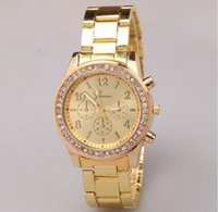 Wholesale Cheap Branded Watches Geneva - Geneva Luxury Created Diamond Stainless Steel Watch for Men Fashion Designer Brand Casual Cheap Quartz Watches Gold Rose Gold Silver Colors