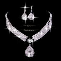 Wholesale Cheap Acrylic Necklaces - Fashion Bridal Wedding Accessories Necklace and Earrings Veu De Noiva 2014 Elegant Cheap Silver Free Shipping In Stock