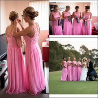 Wholesale Cheap Bridemaid Gowns Chiffon - New Cap Sleeves Coral Chiffon Lace Bridemaid Dresses 2015 Long Women Plus Size Wedding Party Gowns Cheap Under 100 Made Maid Of Honor