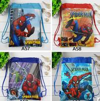 Wholesale Cheap Children Handbag - NEW 2015 Children Drawstring Bags Cartoon The Superhero Backpack Kids School Bag Handbag cheap V1DB6A