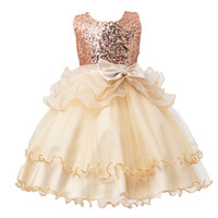New Baby Girls Bambini Abiti Paillettes Bow Princess Wedding Dress da damigella d'onore Party 5 Color 7 Size