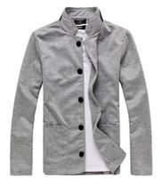 Wholesale Fitted Denim Blazer - New fashion men's pure cotton slim fit business suit Men's leisure Blazers Men's joker coat Men's jackets knitted M-XXL 3 Colors sportswear