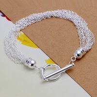 Wholesale Hand Line Fishing - Hot sale best gift 925 silver Line 10 TOO hand DFMCH251, Brand new fashion 925 sterling silver Chain link bracelets high grade