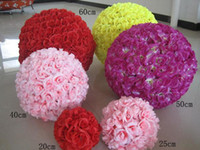 Wholesale Large Christmas Ball Ornaments - New Artificial Encryption Rose Silk Flower Kissing Balls Large Hanging Ball Christmas Ornaments Wedding Party Decorations
