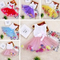 Wholesale organza rose dress for sale - Group buy babies clothes Princess girls flower dress D rose flower baby girl tutu dress with colorful petal lace dress Bubble Skirt baby clothes