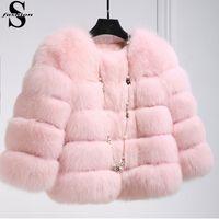 Wholesale Women Long Peacoat - Winter Fox Fur Coat Jacket Petite Ladies Fur Peacoat Outwear Round Neck Long Sleeve Parka Coats Short Trench Coats Warm Outwear CJE1006