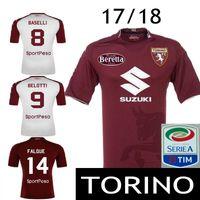 Wholesale Mens Soccer Shirts - 17 18 Torino BELOTTI Soccer Jersey Mens BASELLI BENASSI FALQUE LJAJIC Zappacosta Rincon N'Koulou Italia Calcio MAGLIA Football Shirt Sponsor