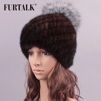 Wholesale Skull Toe Caps - Wholesale-2015 hot sale luxury real mink fur hat winter fur hat striped toe cap covering cap factory price women winter warm cap