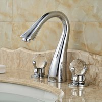 Wholesale Chrome Crystal Faucet - Chrome Finish Deck Mounted Basin Vessel Mixer Taps Three Hole Dual Crystal Handle Faucet