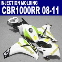 Wholesale Motorcycle Parts For Honda - Injection molding ABS motorcycle parts for HONDA fairings CBR1000RR 2008-2011 CBR1000 RR white yellow HANNSpree fairing kit 08 09 10 11 #U75