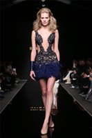 2015 Marina Guaina Applique Piuma Cocktail Abiti Di Paillettes Pura Immergendo Il Collo Corto Senza Maniche Club Party Dress Prom