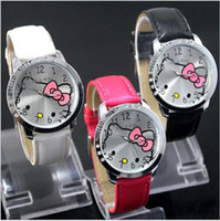 Wholesale Wholesale Made China Leather - Luxury Crystal Diamond KITTY Cat Design Fashion Kids Wristwatches China Made Leather Strap Quartz Watch watches White Blue Red Black Pink