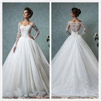 Wholesale Sposa Wedding Dress - 2016 New Amelia Sposa Long Sleeves Lace A Line Wedding Dresses V Neck Organza Floor Length Bridal Gowns