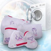 bolsa de lavanderia com zíper venda por atacado-5 Pçs / set Dupla Camada De Malha Saco De Roupa De Espessamento Com Zíper Roupas Sutiã Cueca Protetor de Roupa Sacos de Lavar Roupa para Máquinas de Lavar Roupa