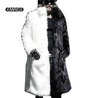 Wholesale Men Full Length Fur Coats - Wholesale- Men Fur Coat Winter 2016 Plus Size Faux Fur Coat Men Punk Parka Jackets Full Length Leather Overcoats Long Fur Coat Man K239
