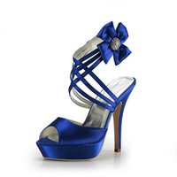 Wholesale Satin Bridal Platform - 2015 Fashion Cheap Royal Blue Wedding Shoes Open Peep Top Platform 13 cm Pumps Heels Women's Prom Party Evening Dress Wedding Bridal Shoes