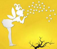 etiqueta de la pared hadas al por mayor-Nombre personalizado Hadas Estrellas Arte de la pared Pegatinas Calcomanía Decoración Del Hogar Mural de Pared Etiqueta Engomada Del Dormitorio Extraíble Envío Gratis