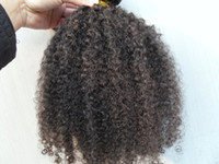 Wholesale Brown Brazilian Afro Hair - New Arrive Brazilian Human Curly Hair Weft Clip In Human Hair Extensions Unprocessed Natural Black  Brown Color 9pcs set Afro Kinky Curl