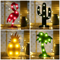 Wholesale Pineapple Decor - Durable LED Light Flamingo Cacti Pineapple Coconut Tree Table Lamp For Home Decor Night Lights Glowing In The Dark 8aq B R