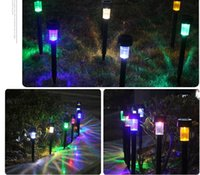 Wholesale Stainless Steel Garden Light Led - High quality Stainless Steel Solar LED Lights lamps 10pcs Solar garden  Yard lawn Tube Colorfull light IP65 Waterproof for Christmas day