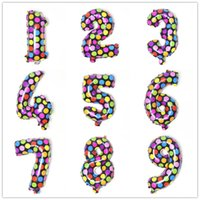 Wholesale 20PCS inch polka dot number Helium Aluminum Foil Balloon christmas wedding birthday Holidays Party Supply Decoration Supplies
