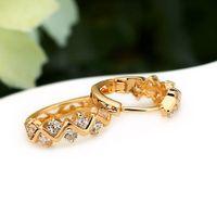Wholesale Earrings Hoops Wave - wave design 18K Gold Plated Elegant Hollow hoop earrings for Lady Men Latest Shining Crystal Inlay Jewelry wholesale