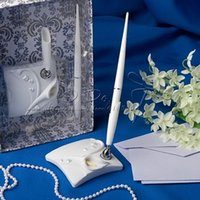 Wholesale Calla Lily Pens - Free Shipping Calla Lily Wedding Pen Set In White Resin For Wedding Party