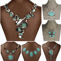 Wholesale Silver Bib Jewelry - Wholesale-Nature Turquoise Necklace Vintage Sterling Silver Collier Femme Necklace Bib Pendant Necklace Fashion Jewelry For Women 2015
