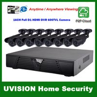 Wholesale Dvr Security Camera System 16ch - HDMI 16ch full d1 DVR Kit CCTV System 8pcs 600TVL Waterproof IR outdoor Cameras 16ch Security Camera system 8pcs 18m cctv cable
