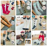 baby kniestrümpfe für jungen großhandel-24 Arten Unisex Cartoon Tier Beinlinge Baby Mädchen Jungen Knie hoch Totoro Panda Fox Socken Kinder niedlich gestreiften Knie Pad Socke 0-6Y