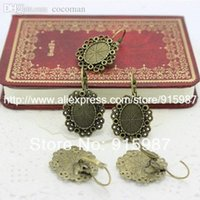 Wholesale Cabochon Earring Bases - Wholesale-20pcs lot Fashion Vintage Adjustable Stud earrings Ba14*10mm Antique Bronze Cabochon earrings Bases A3032