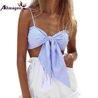 Ahmagen Sexy Striped Lace Up Fliege Bralette Crop Top 2017 Sommer Neue Stil Tank Tops Cropped Leibchen Strand Boho Rohr Top