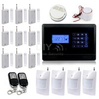 Wholesale Wireless Gsm Text - 850 900 1800 1900MHz TEXT Touch Keypad LCD Screen Wireless GSM SMS alarm for Home Security Fire Smoke Alert Alarm System SG-311