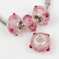 perles de verre de murano fleurs achat en gros de-60 pcs / lot Nouvelle Fleur Rose Murano Verre Au Verre Grand Trou Perles 14X9mm fit Européen Bracelet À Breloques Bijoux DIY