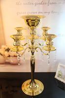 Wholesale Wholesale Bowl Candle Holder - H75cm * W48cm, Gold color 5 Heads Crystal Candelabra, Candle Holder, wedding Centerpiece, flower bowl Candle holder with pendants