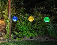 Solar Powered Crackle Glass Ball Cor Mudando as luzes de estaca Stainless Steel Solar Garden Lawn Lights Patio Decorative Landscape Lâmpadas MYY