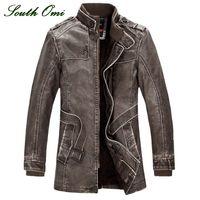 Wholesale Motorcycle Warm Winter Jacket - Fall-leather jackets Men coats Winter warm motorcycle Leather jacket Men's fashion luxury leather mens Fur coat distressed PU jacket