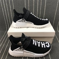 Wholesale L Shoes - C H A N E L Human Race Black White Women Men Runing Shoes Sneakers NMD Real Boost Sports Shoes Limited Running Shoes