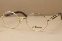 ingrosso bufalo rotondo-Occhiali da vista rotondi caldi dell'occhio 7550178 corno nero di bufalo Occhiali da vista da uomo Spedizione gratuita montature per occhiali d'oro Formato frame: 55-22-135mm